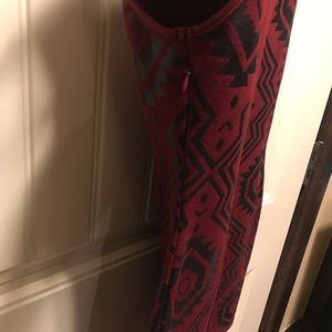 Nameless Dresses - Maroon and black Aztec print dress